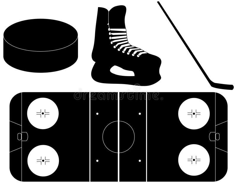 Set Hockey-Schattenbilder lizenzfreie abbildung