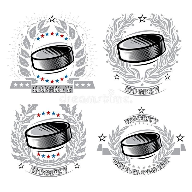 Set hokejowy krążek hokojowy w centrum srebny laurowy wianek na lekkim tle Sporta logo dla jakaś drużyny royalty ilustracja