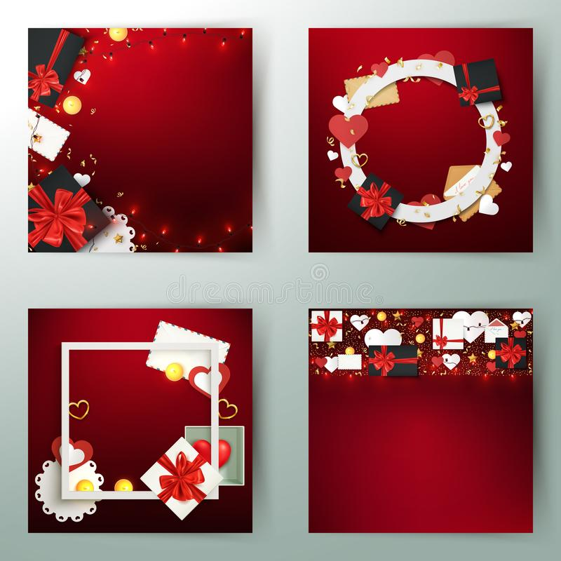 Set of holiday festive background cards, gift boxes and decorative elements, birthday, valentine, christmas template, vector. Illustration design stock illustration