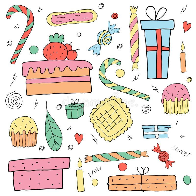 Set of holiday objects. Birthday things. royalty free illustration