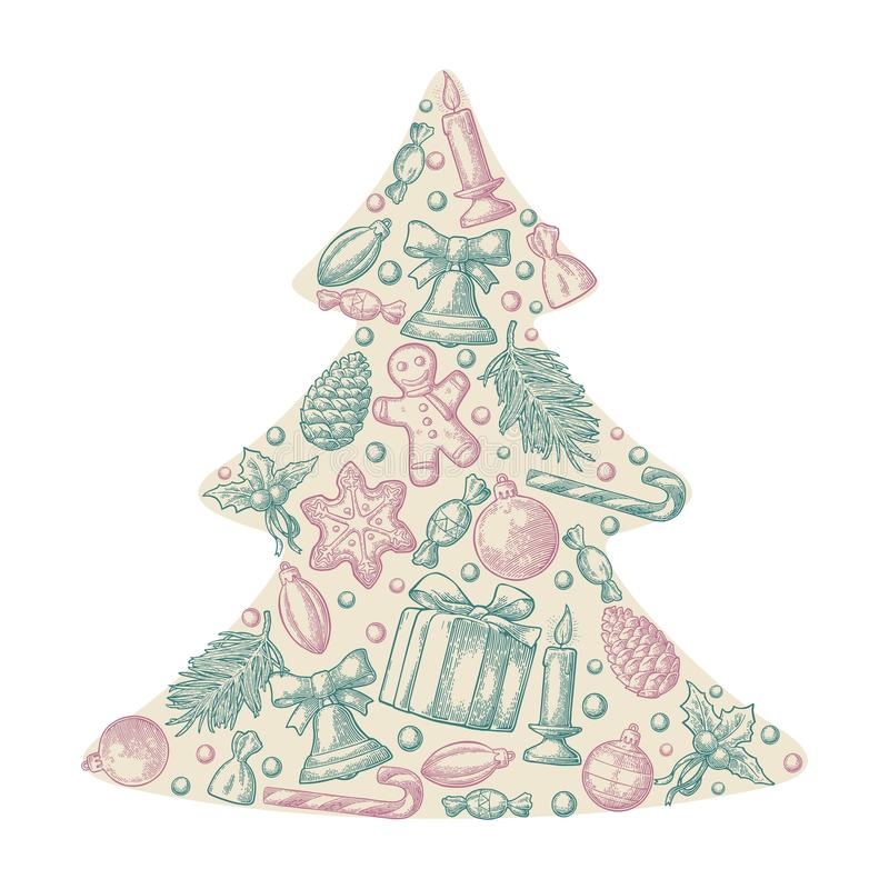Set holiday objects in fir tree shape. Merry Christmas Happy New Year lettering. Gingerbread man, pine cone, box, candy, candle, branch, bell, star, toy stock illustration