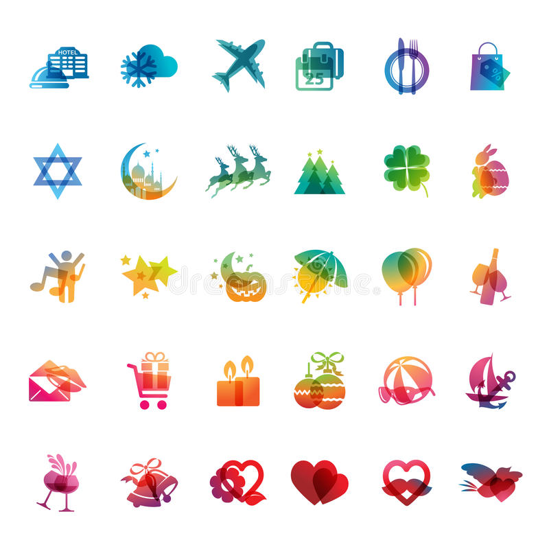 Download Set of holidays icons stock illustration. Image of event - 34384704