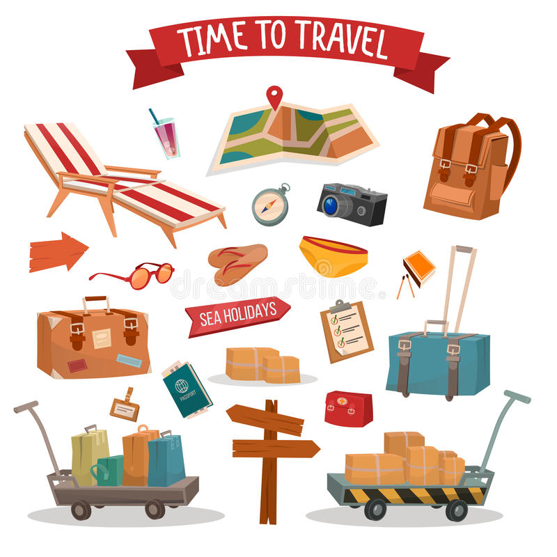 Set of Holidays Summertime Elements with Baggage royalty free illustration