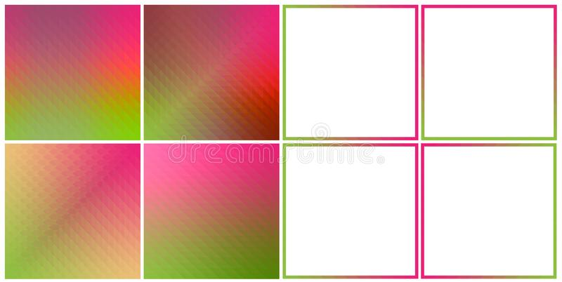 Set of 4 Hologram textures and 4 abstract frame borders green pink colors. royalty free illustration