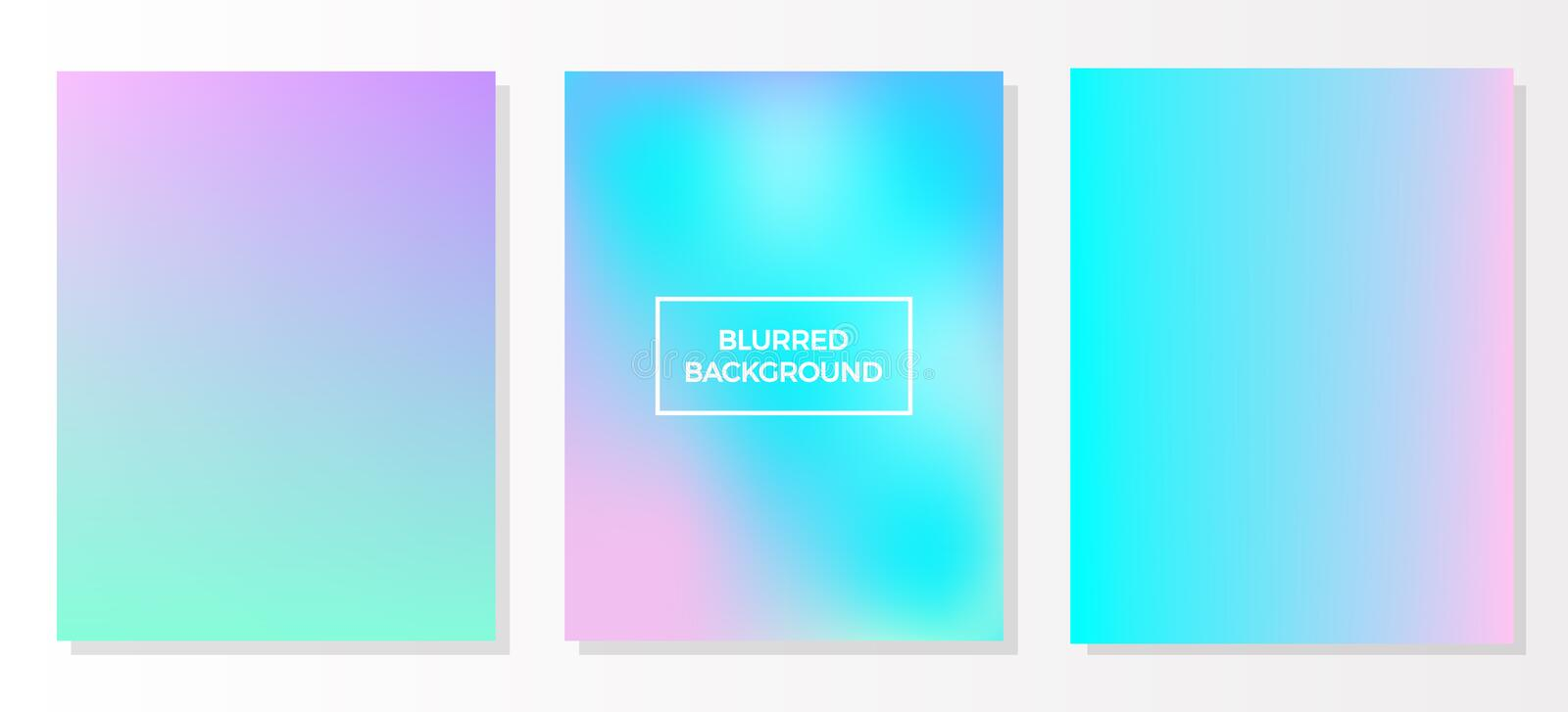 Set of holographic multicolored blurred vivid gradient backgrounds, vector colorful posters. Template for flyer and presentation, royalty free illustration
