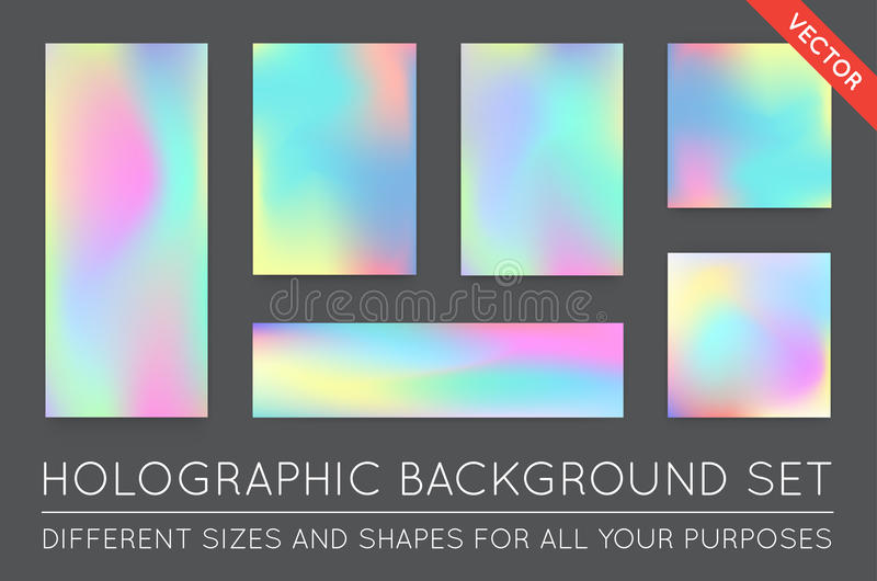 Set of Holographic Trendy Backgrounds. Can be used for Cover, Bo stock illustration