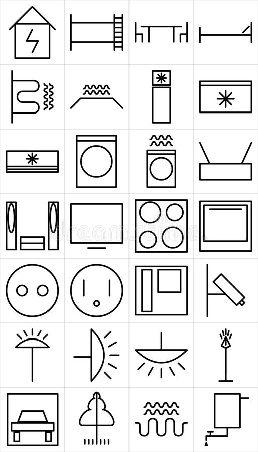 Set Of Home Electrical Devices Pictogram Stock Vector - Illustration ...