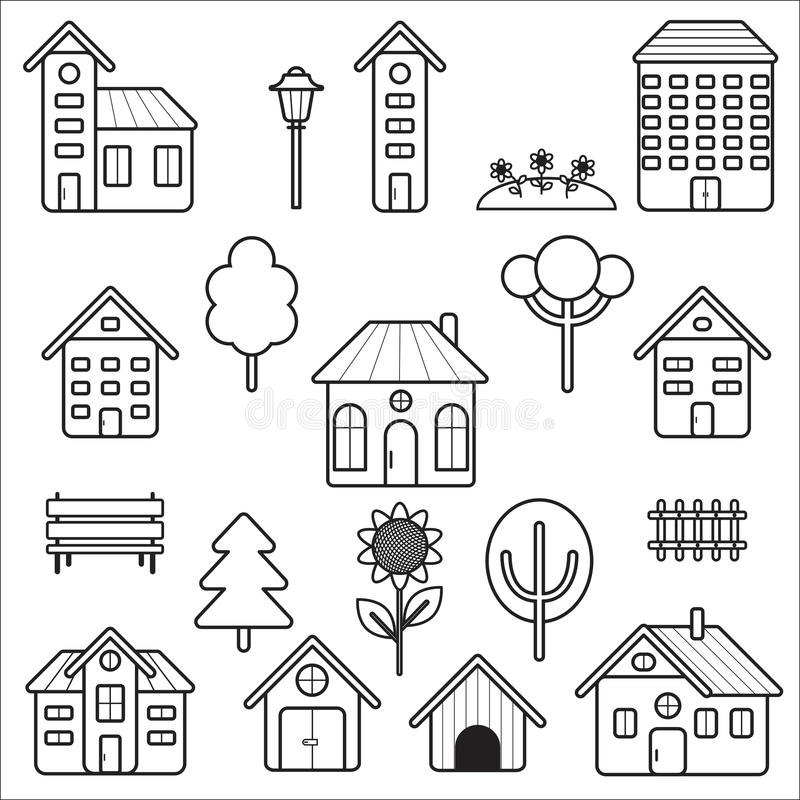 Set Of Home And Exterior Icons Stock Vector Illustration Of Image