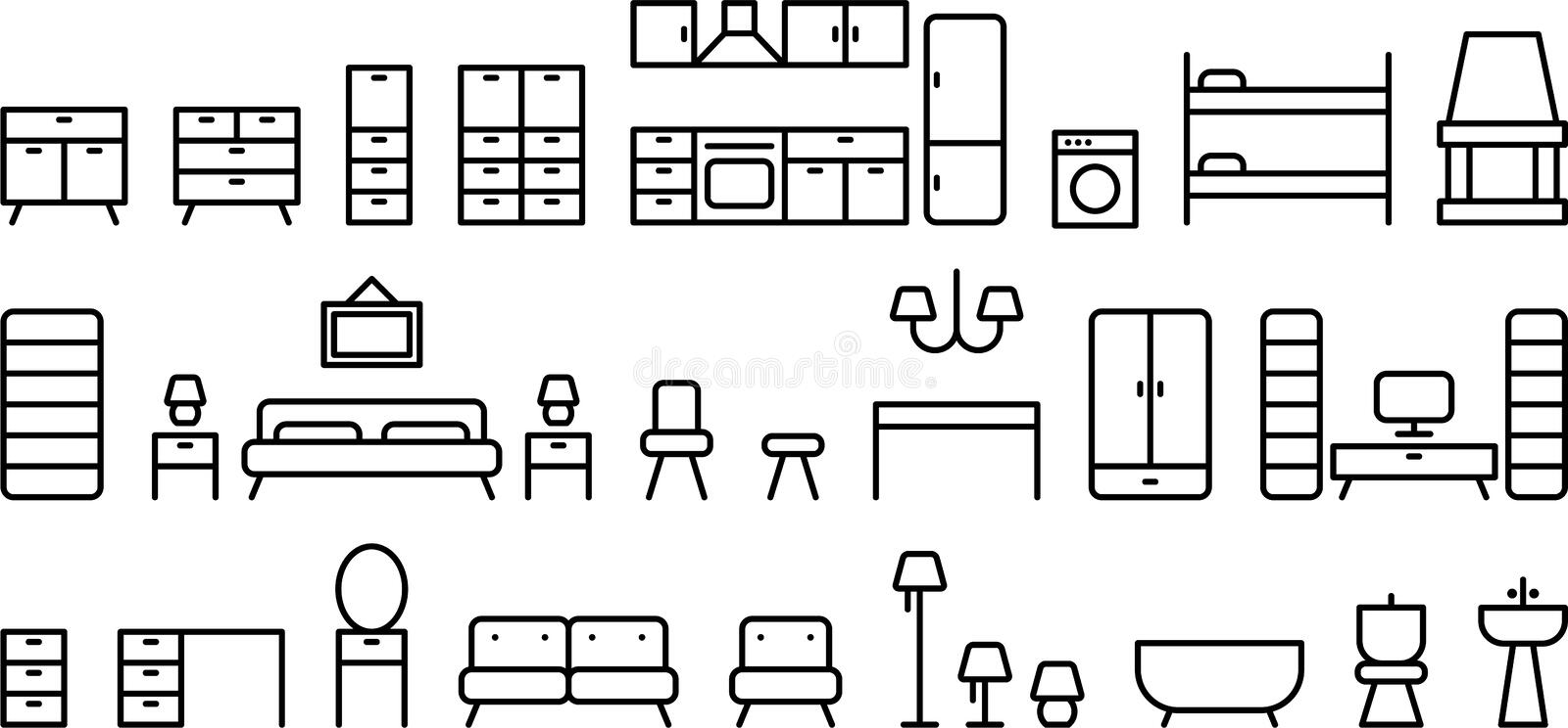 Download Set of home furniture stock vector. Image of drawers - 34495773