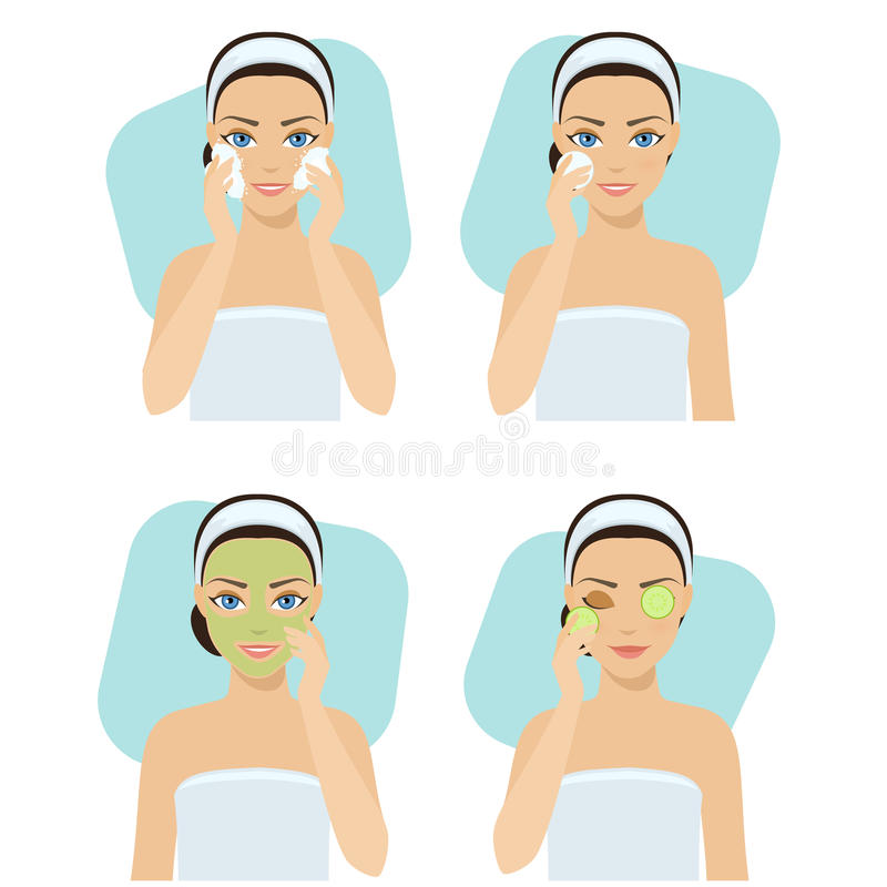 Set of home remedies. Skin problems solution. Girl cleans her face with cosmetic. Vector stock illustration royalty free illustration