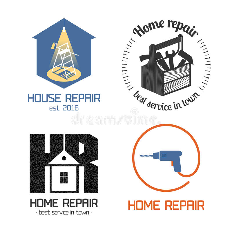 Set of home repair, house remodel vector icon, symbol, sign, logo stock illustration