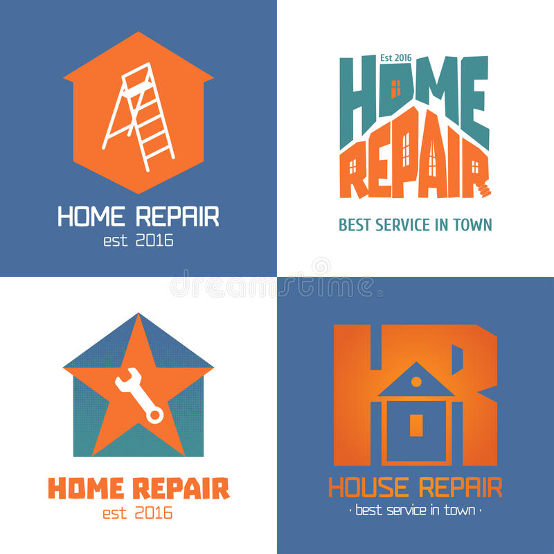 Set of home repair, house remodel vector icon, symbol, sign, logo. Emblem. Template graphic design elements for construction company, builders, home and house royalty free illustration