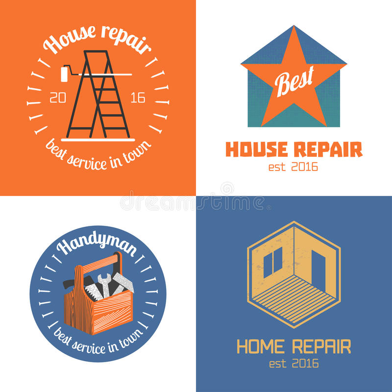 Set of home repair, house remodel vector icon, symbol, sign, logo. Emblem. Template graphic design elements for construction company, builders, home and house stock illustration