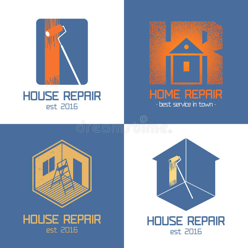 Set of home repair, house renovation vector icon, symbol. Sign, logo, emblem. Template graphic design elements for construction company, housing service vector illustration