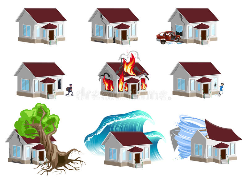 Set homes Disaster. Home insurance. Property insurance royalty free illustration