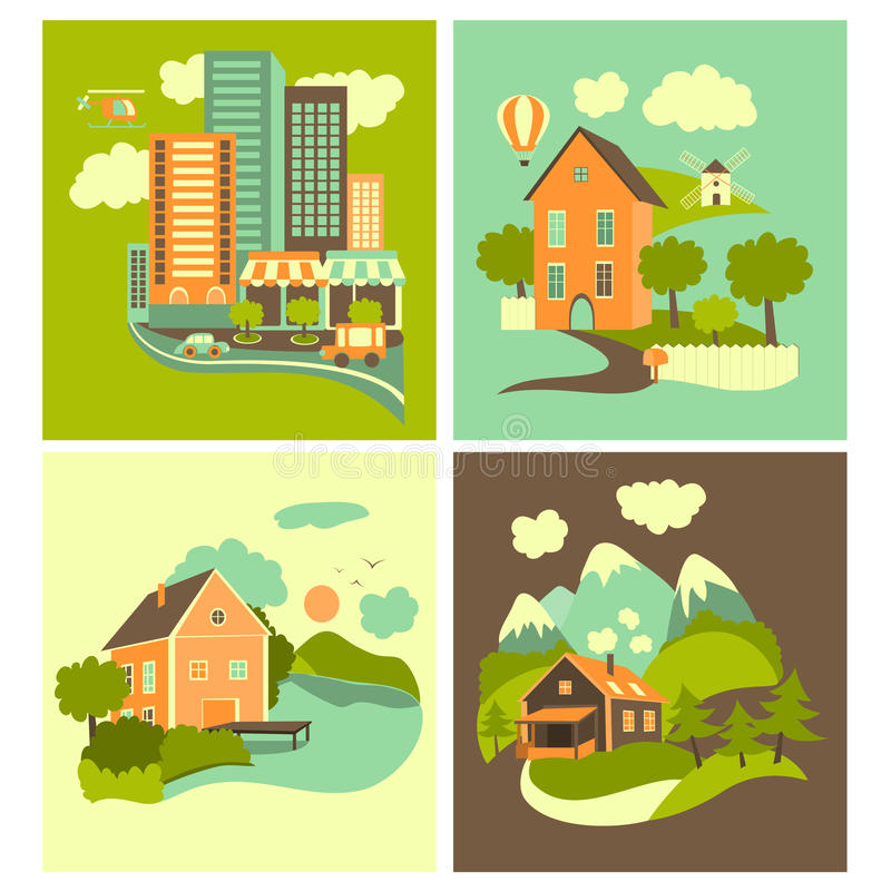 Set of homes. Set of residential buildings. Urban, rural, nearby lake and mountain ones royalty free illustration