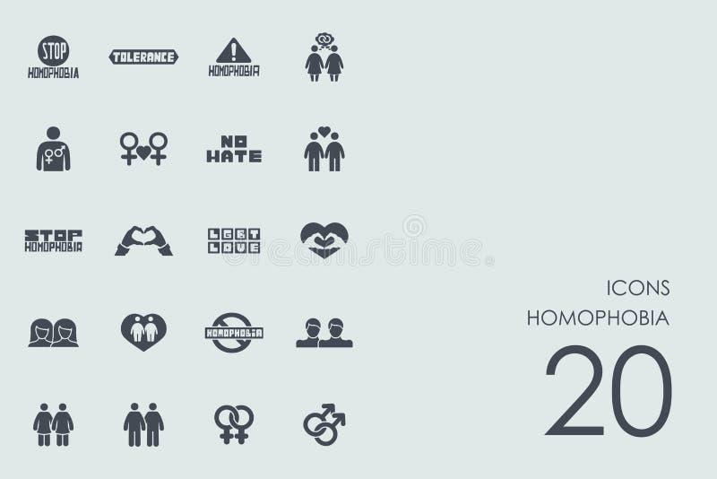 Set homofobia ikony ilustracji