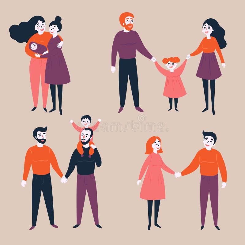 Set homoseksualny lgbt i tradycyjne pary z dzieckiem royalty ilustracja