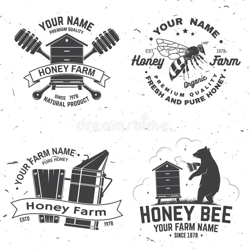 Set of Honey bee farm badge. Vector. Concept for shirt, stamp or tee. Vintage typography design with bee, hive and bear vector illustration