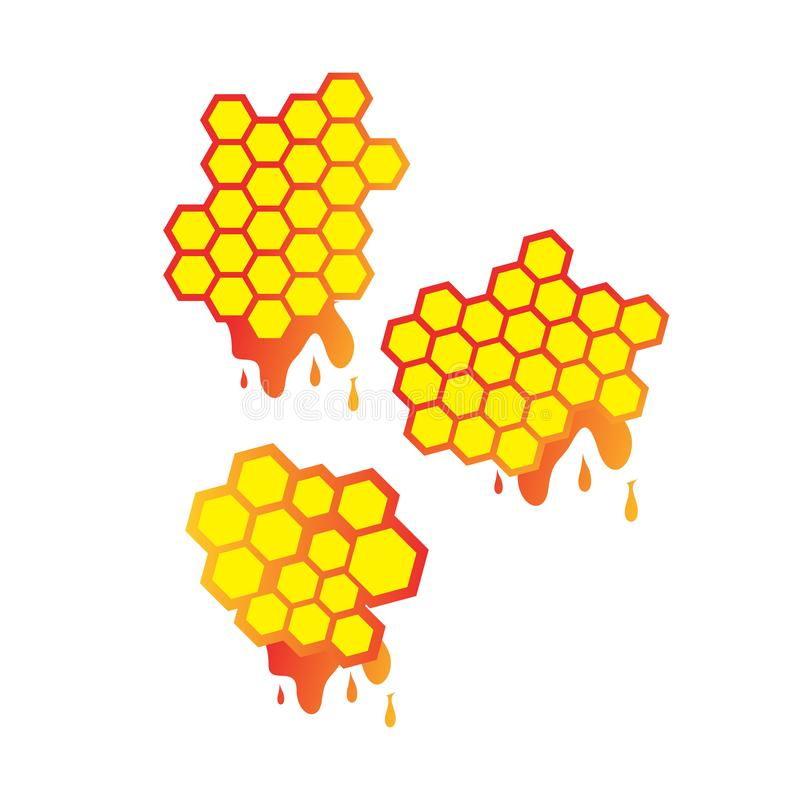 Set of Honey droplets and honeycomb Logo Design vector sign symbol illustrations. Wax, product, bee, cartoon, spring, creative, medicine, golden, white vector illustration