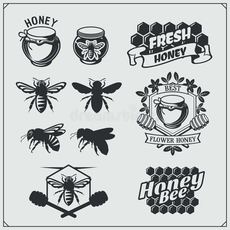 Set of honey labels, badges and design elements. Honeycombs, bees, honey emblems. Vector vector illustration