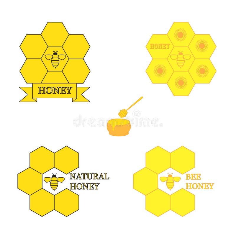 Set of honey labels royalty free stock photos