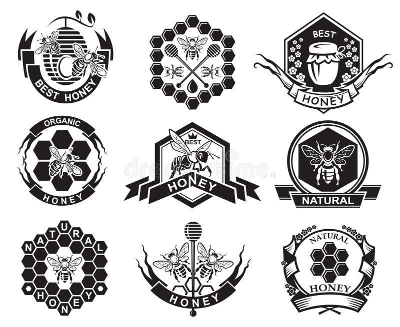 Set of honey labels royalty free illustration