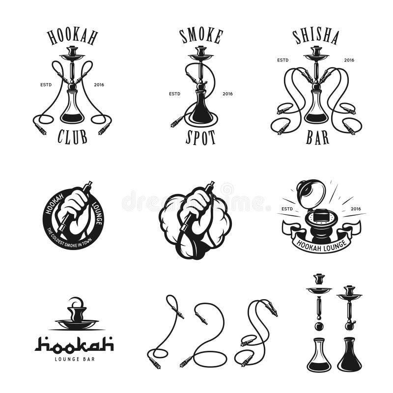 Set of hookah labels, badges and design elements. Vintage logo, emblem vector illustration royalty free illustration
