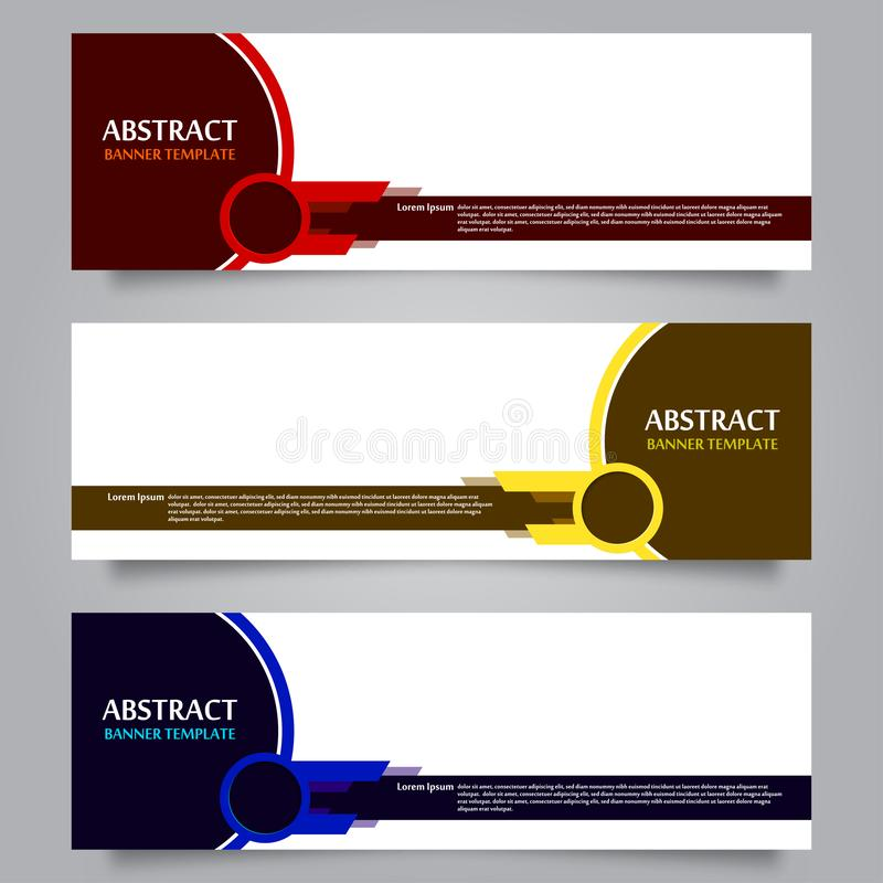 Set of Horizontal Abstract Banner Template 01 royalty free illustration