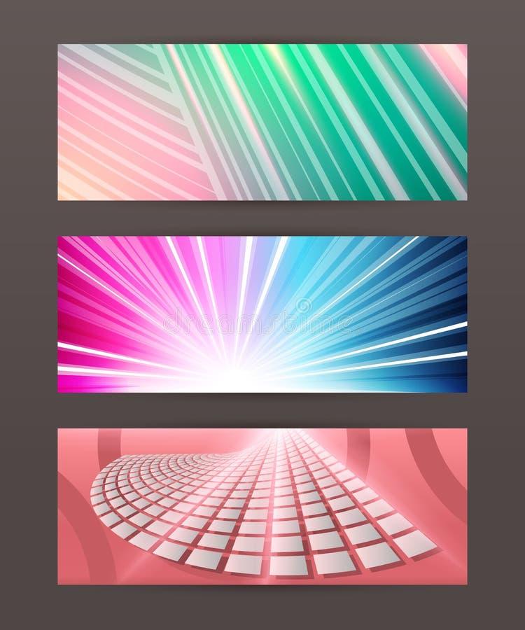 Set Horizontal banner design element background glow abstract. Design elements business presentation template. Set horizontal banners background, backdrop glow royalty free illustration