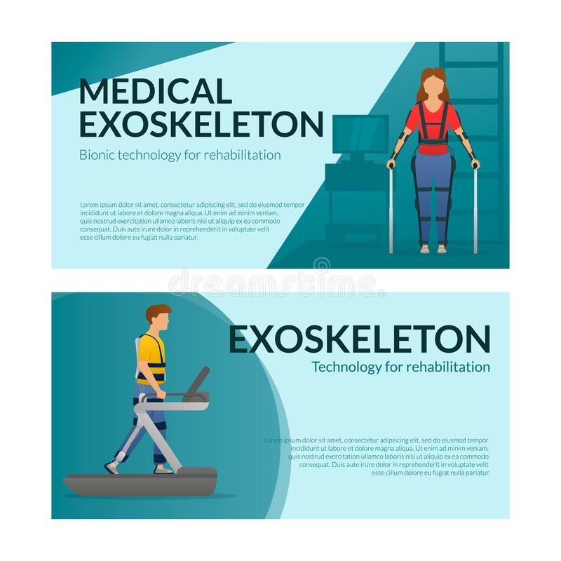 Set of horizontal banner template. People rehabilitation with exoskeleton. Woman stay, man walks with exosuit. Vector. Set of horizontal banner template. People vector illustration