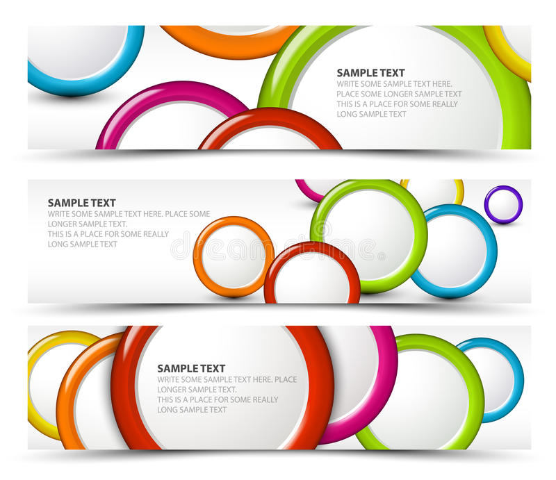 Set of horizontal banners with 3d circles stock illustration