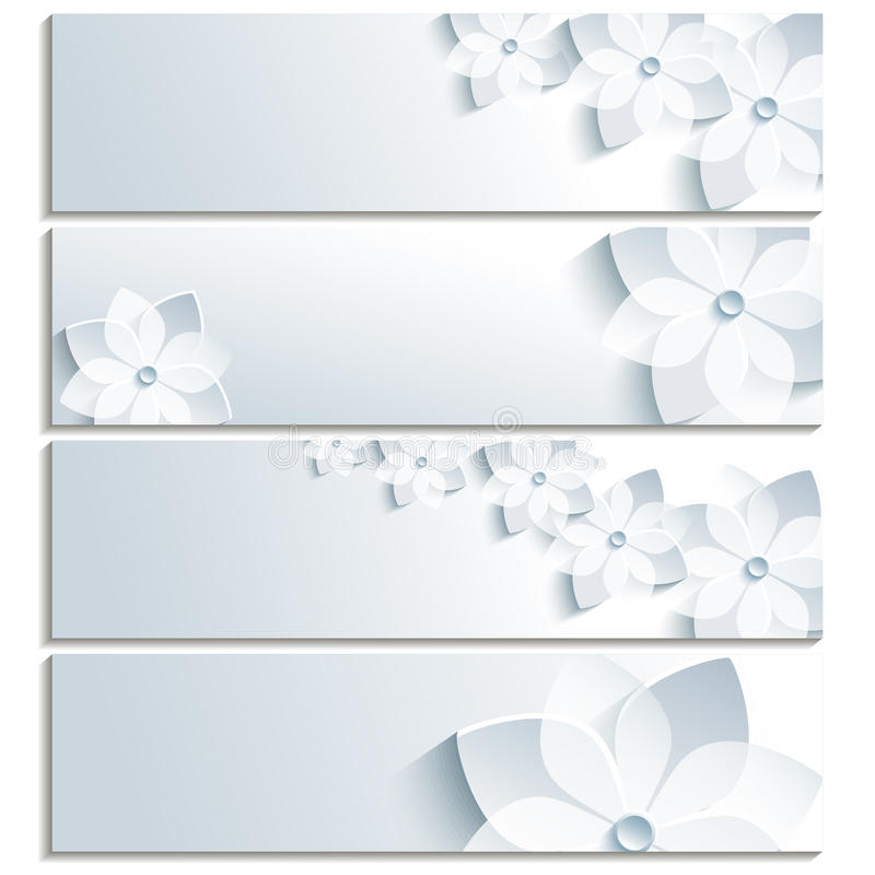 Set of horizontal banners with blossoming sakura vector illustration