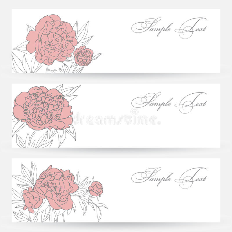 Download Set Of Horizontal Banners With Flowers Stock Vector - Image: 31549360