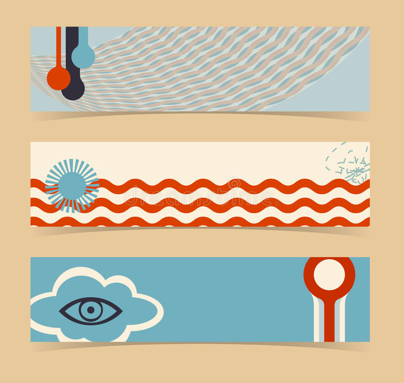 Set of horizontal banners, headers. Editable desig vector illustration