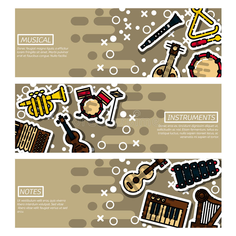 Set of Horizontal Banners musical instruments. Vector horizontal banners of musical instruments and stage equipment. All elements are grouped and easily editable royalty free illustration