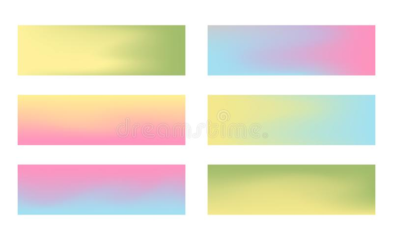 Set of 384 x 115 horizontal banners with pastel color royalty free illustration