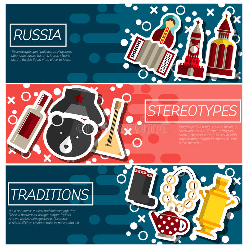 Set of Horizontal Banners about Russia stock illustration