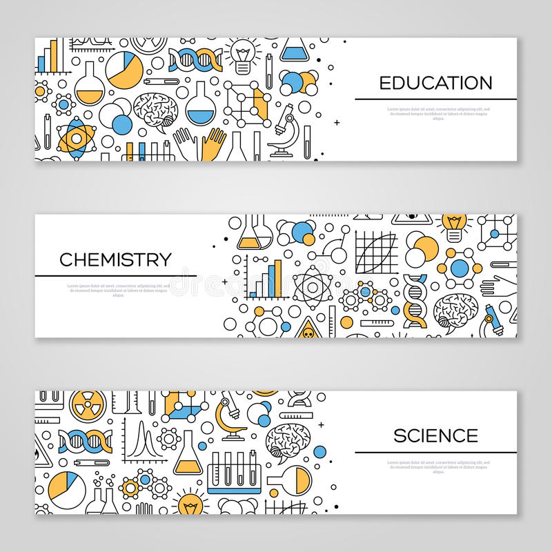 Set of Horizontal Banners with Science Symbols royalty free illustration