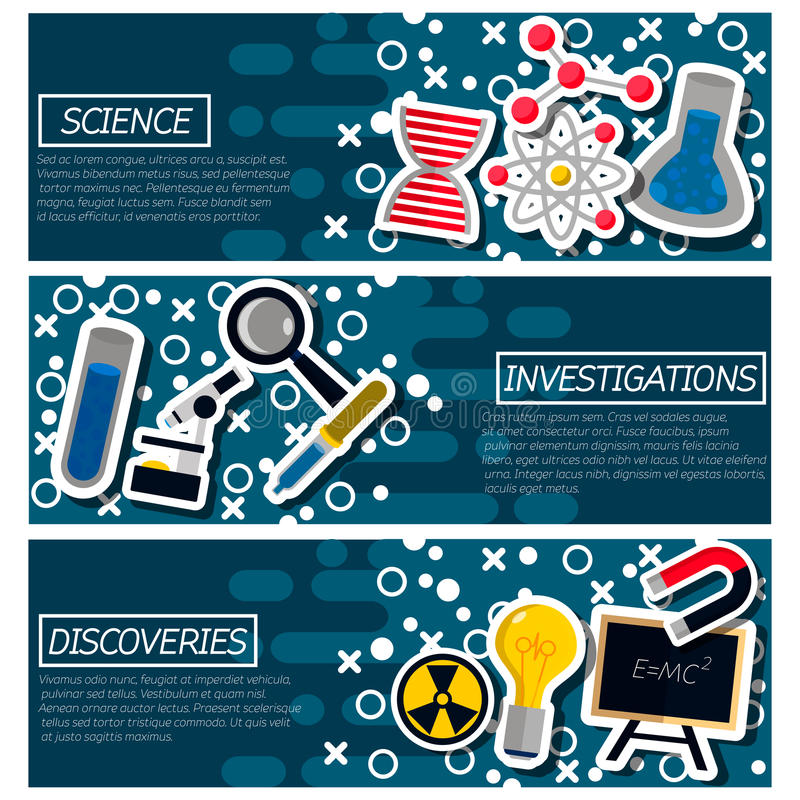 Set of Horizontal Banners about Science royalty free illustration