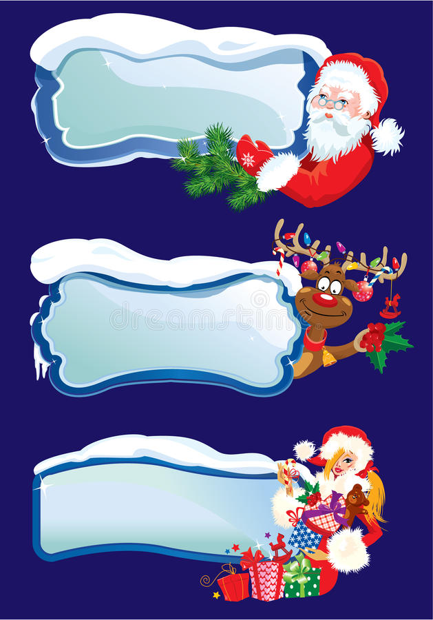 Set of horizontal banners with snowdrifts and icic royalty free illustration