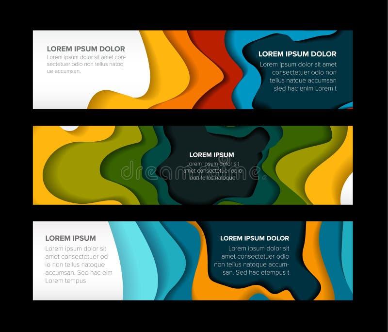 Set of horizontal banners templates stock illustration