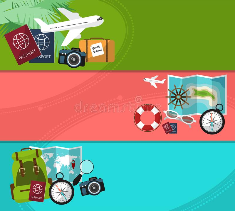 Set of horizontal banners on trips with space for your text. Travel,tourism illustration in flat style. stock illustration