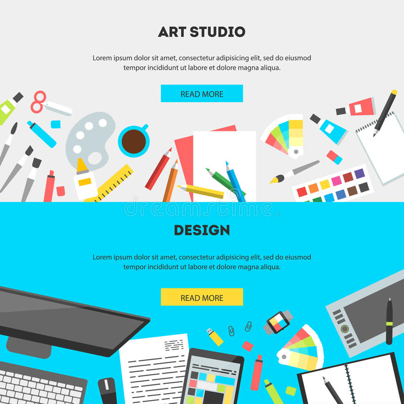 Set horizontal banners workplace of a designer. Set horizontal banners, flat design vector illustration of modern creative office workspace, workplace of vector illustration