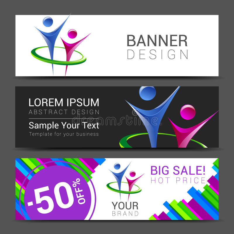 Set of horizontal banners for your business with people logo and bright colorful background banner with sample text royalty free illustration
