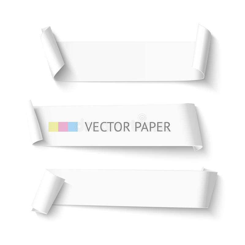 set of horizontal blank white curved paper ribbon banner, Powerpoint templates