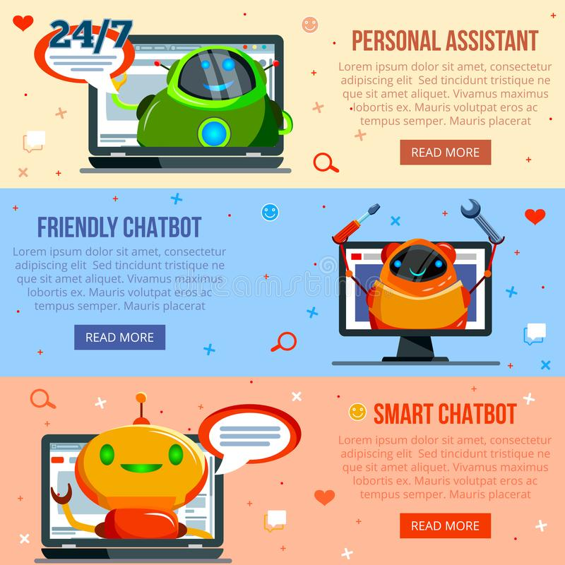Chat Bot Flat Banners. Set of horizontal flat banners personal assistant, smart and friendly chat bot isolated vector illustration vector illustration