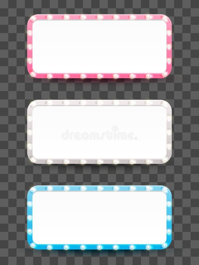 Set of horizontal frames with light bulbs royalty free illustration