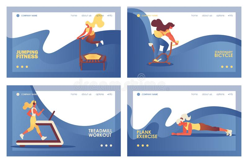 Set of horizontal landing pages or banner templates for gym or sport club. Women jogging on treadmill, jumping on trampoline,. Riding exercise bicycle and doing vector illustration