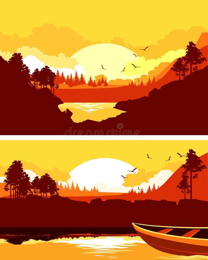 Set of horizontal nature banner vector illustration